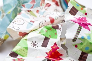organizing christmas wrapping paper